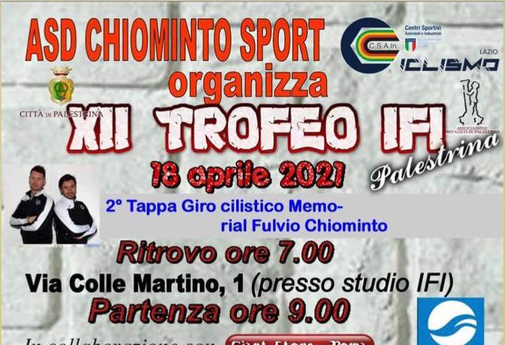 Locandina della nuova coppa Lazio tappa di Palestrina 18 aprile 2021